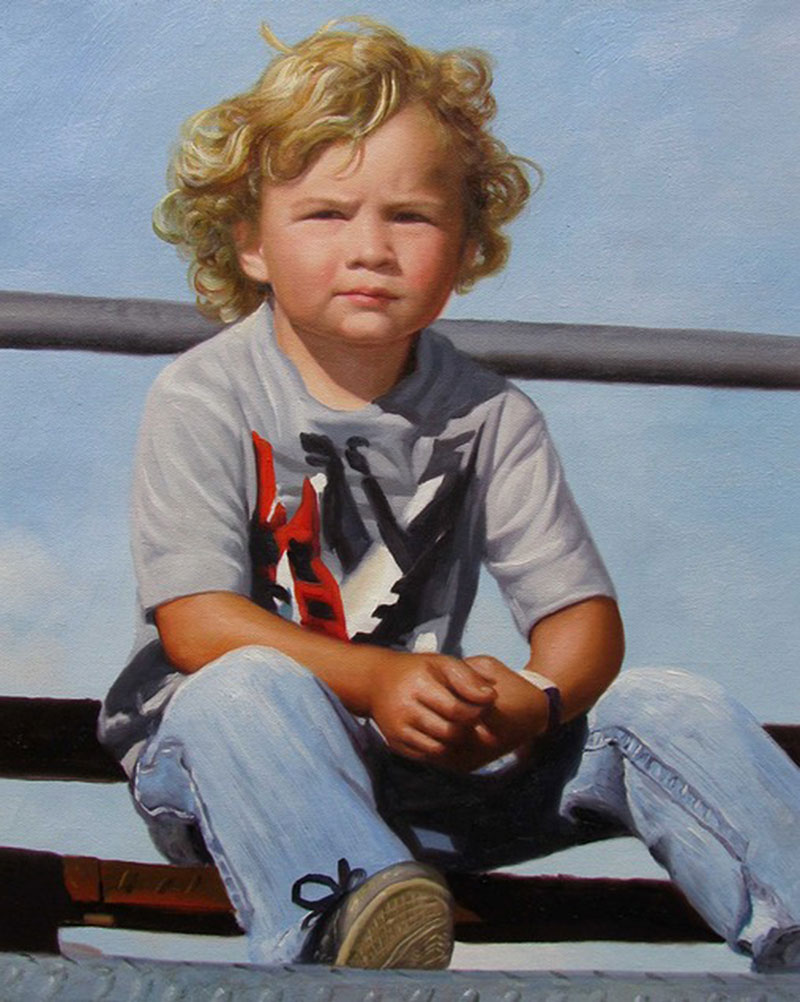 a custom oil painting of a blonde boy sitting