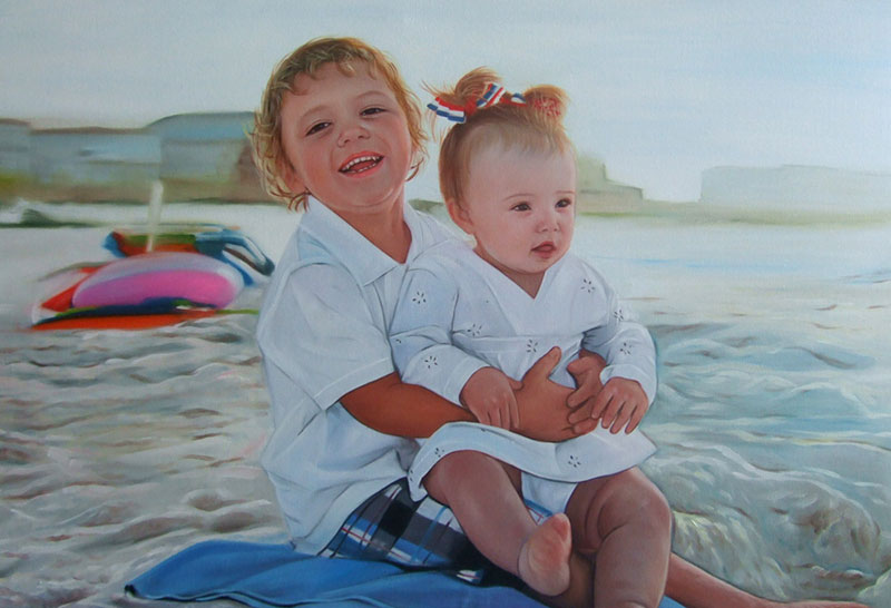 an oil painting of  two siblings at the beach