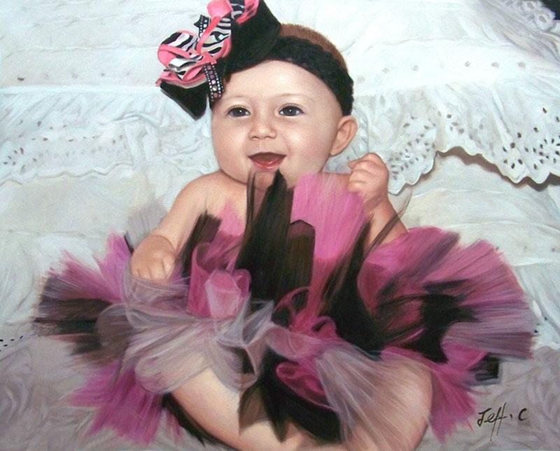 a custom oil portrait for little toddler wearing a dress