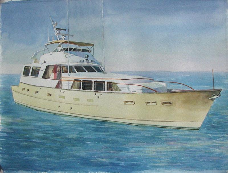 custom watercolor painting of a boat in the ocean