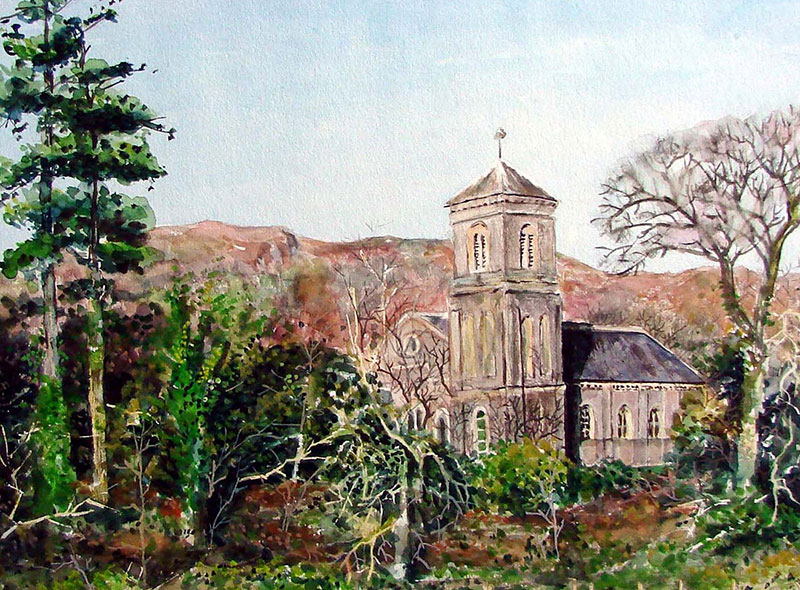 custom watercolor painting of a church in the woods
