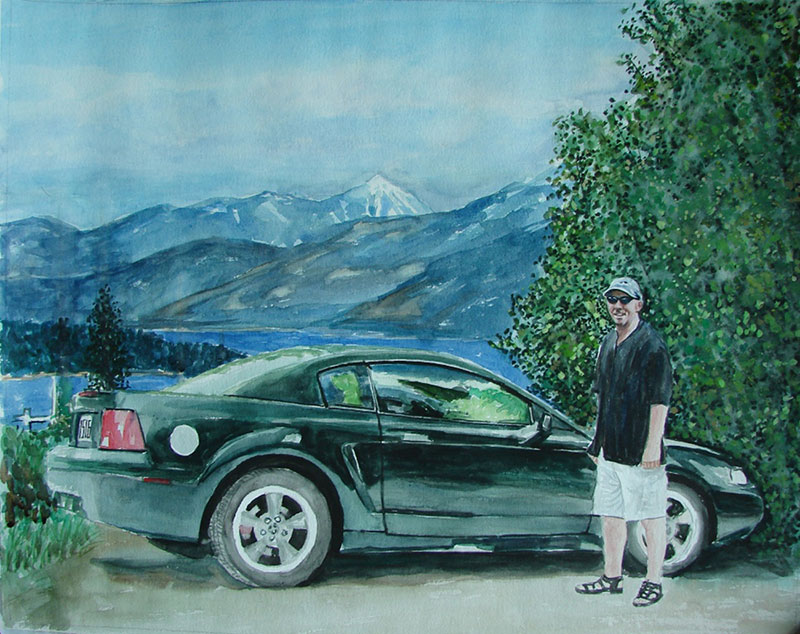 custom watercolor painting of man next to black car
