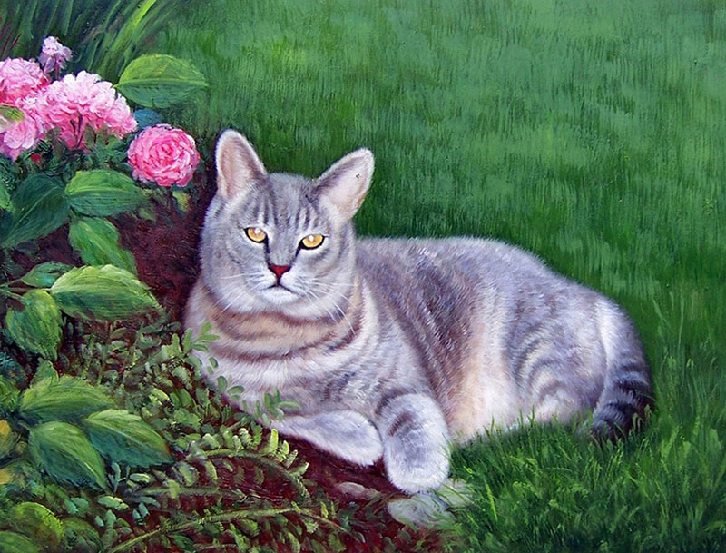 custom pet painting of cat laying in backyard