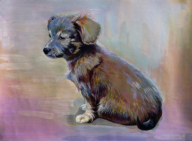 Kleiner Hund Pastellgemälde