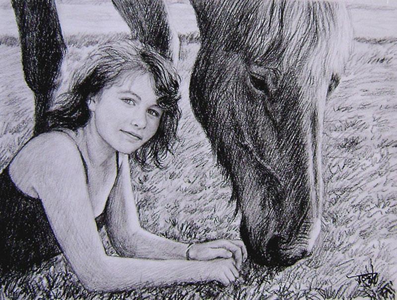 dessin au fusain du cheval et du propriétaire