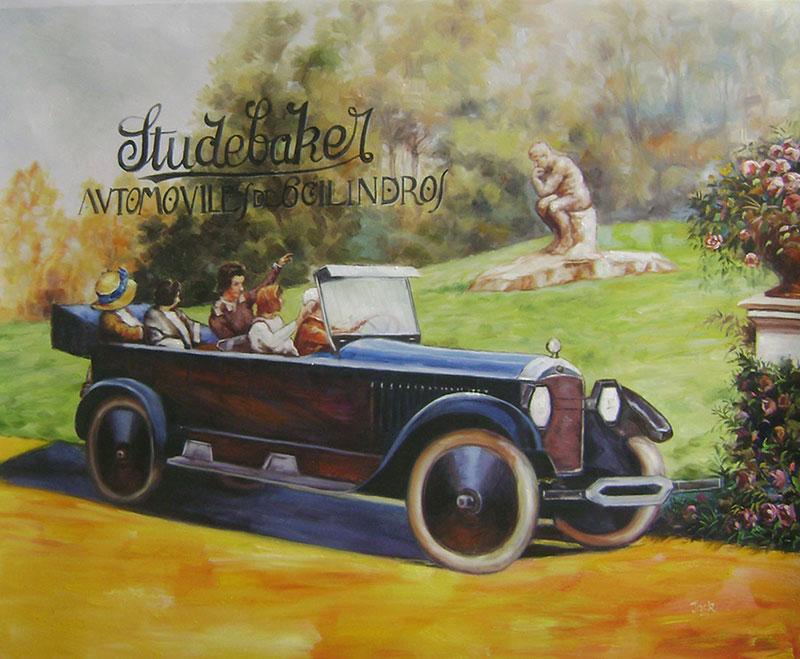 Custom oil handmade painting  of an old car