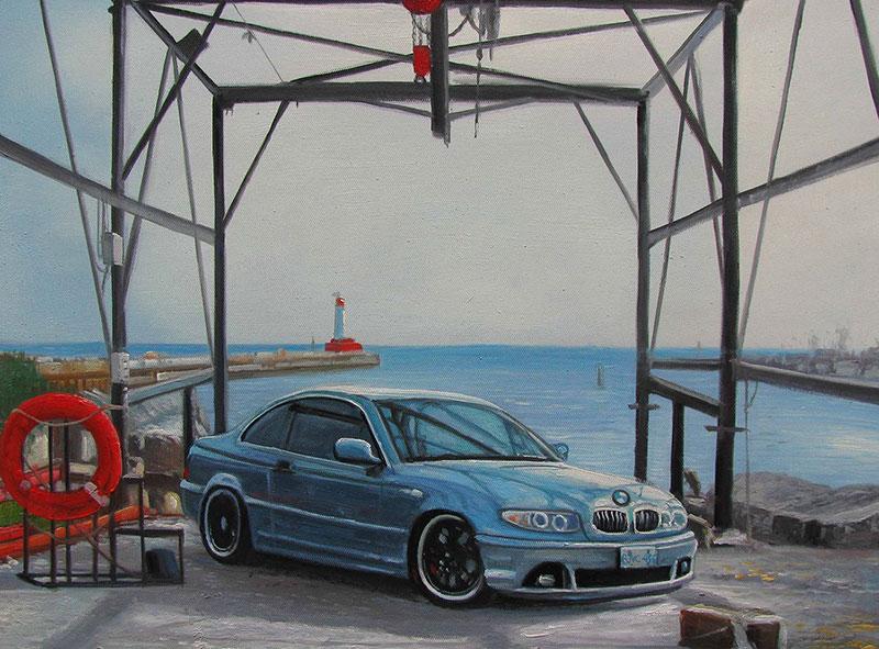 Custom oil handmade painting of a blue car by the sea