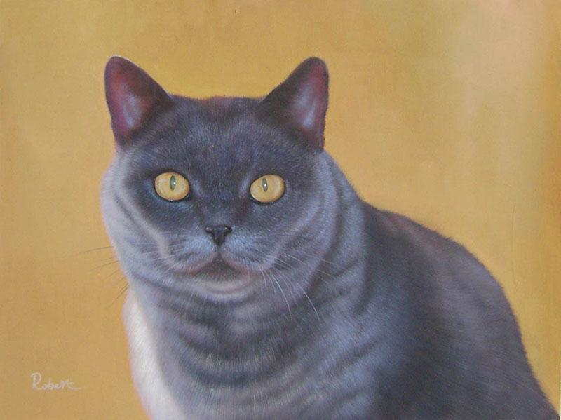 Katze als Ölporträt
