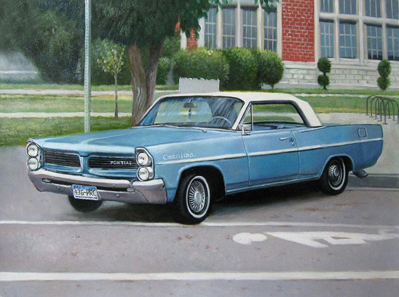 Custom oil handmade painting  of an vintage blue car