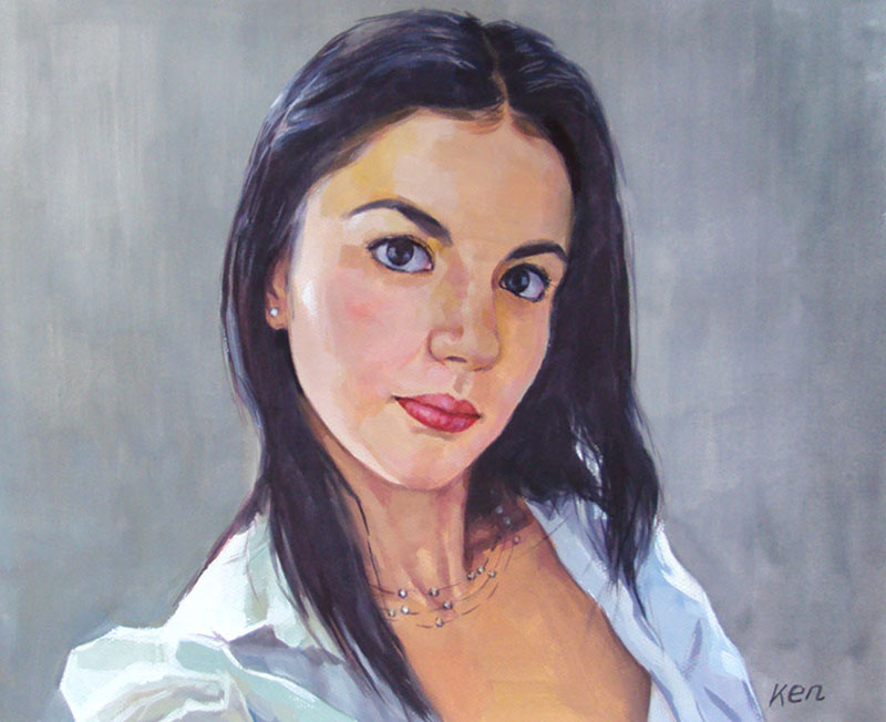 young woman painted in pastel