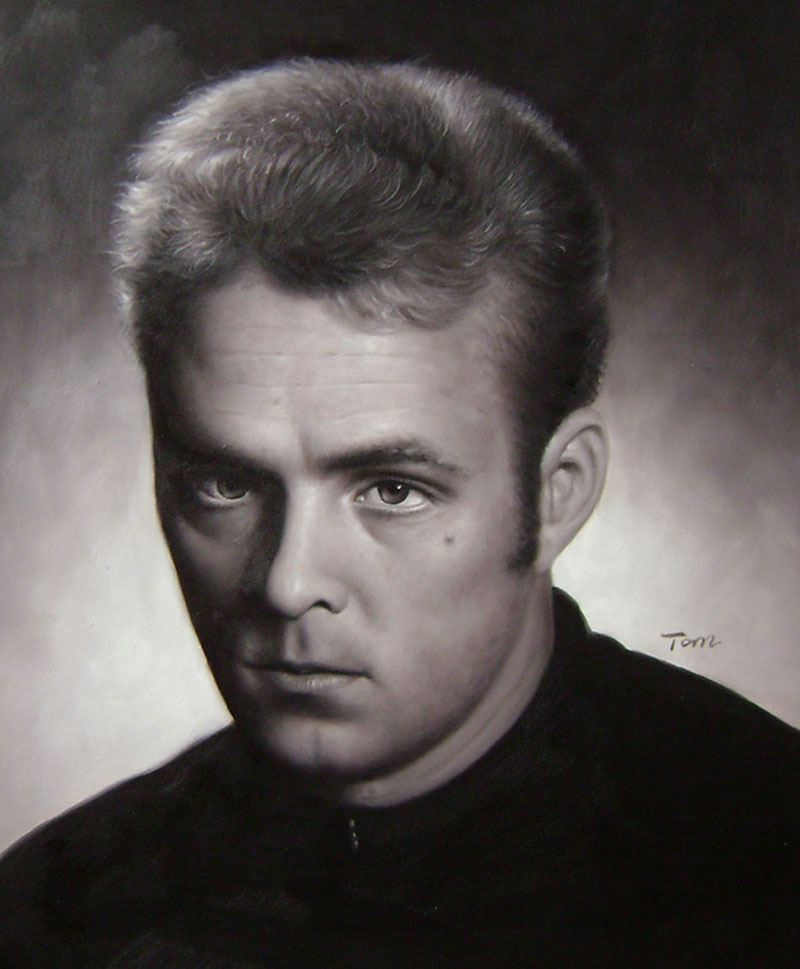 oil portrait in black and white