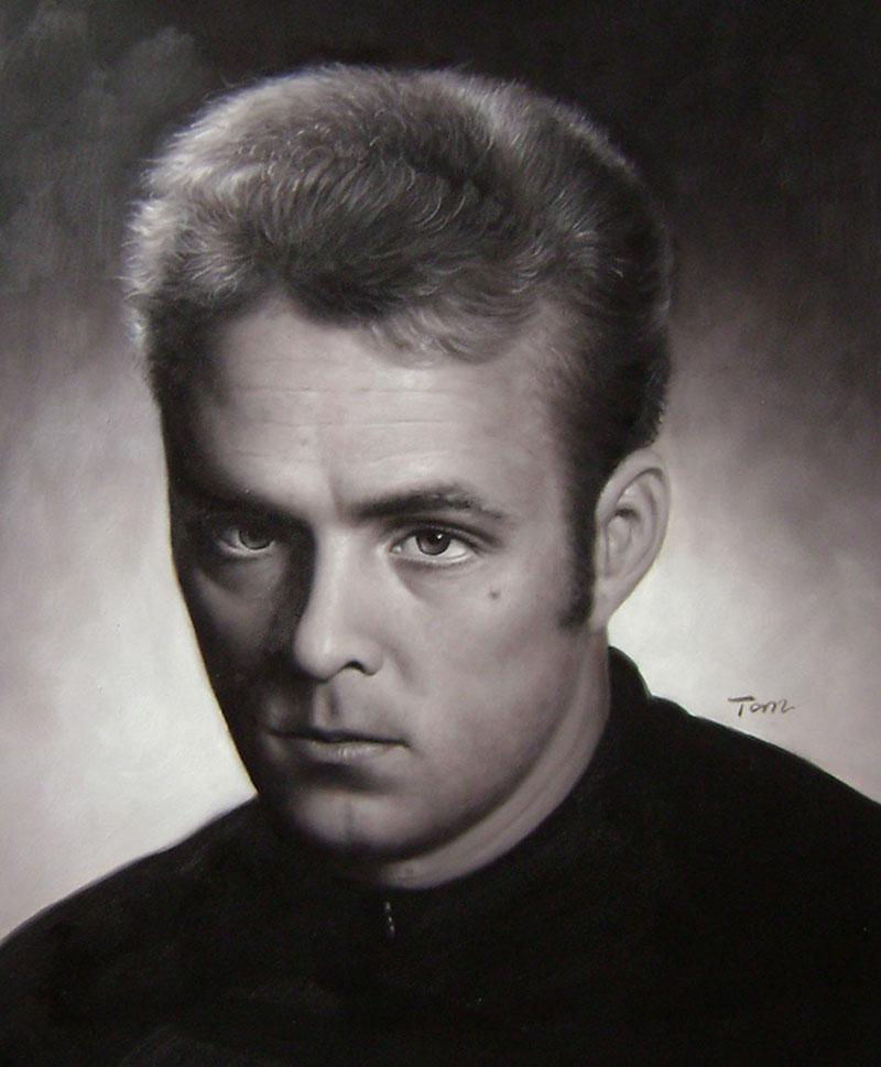 oil portrait in black and white