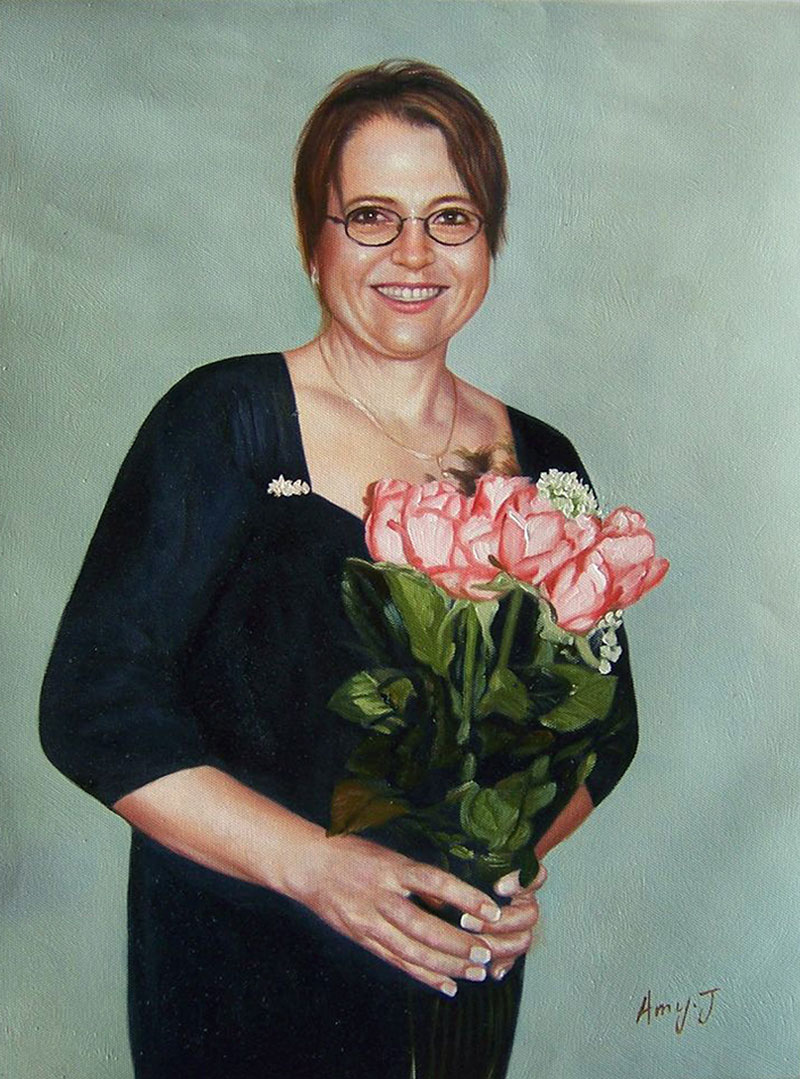 a custom oil portrait of a woman with flowers