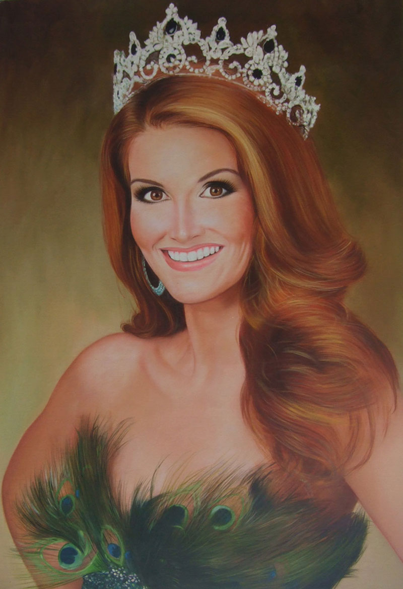 a custom oil painting of a woman with a crown