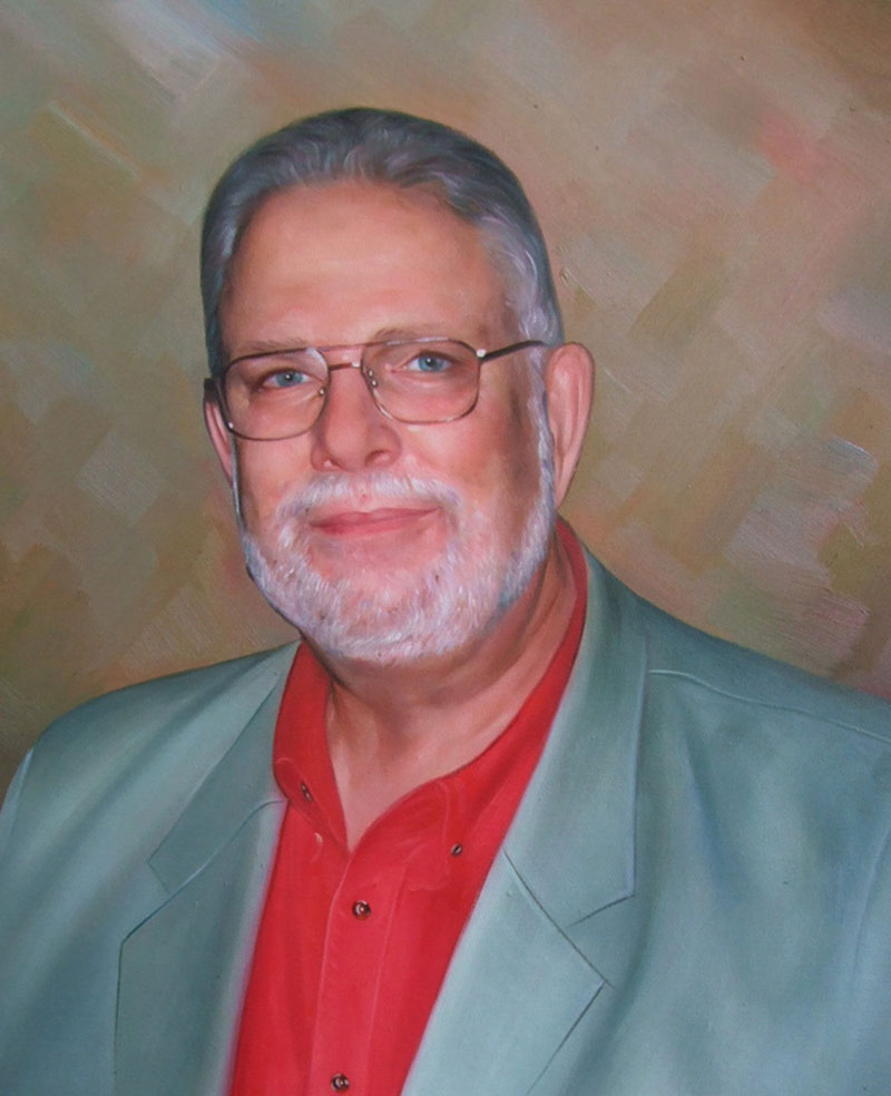 a custom oil painting of an elderly guy in light grey