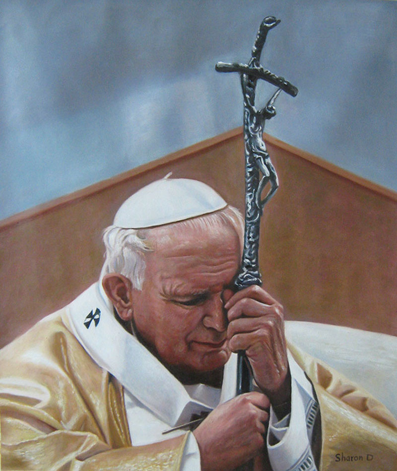 a custom oil painting of a pastor holding a cross