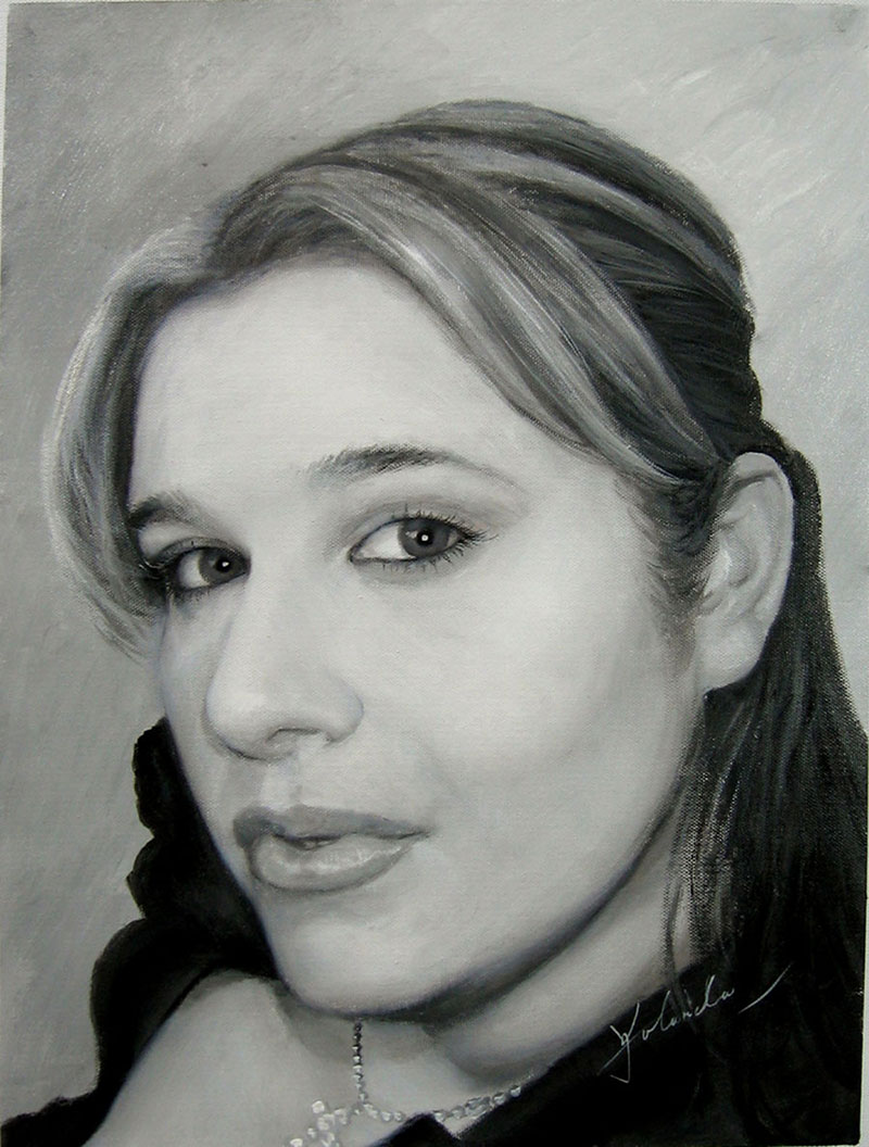 custom acrylic black and white portrait of woman
