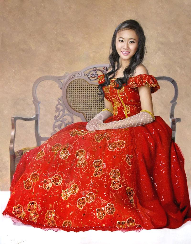 a custom oil portrait of an asian lady in red dress
