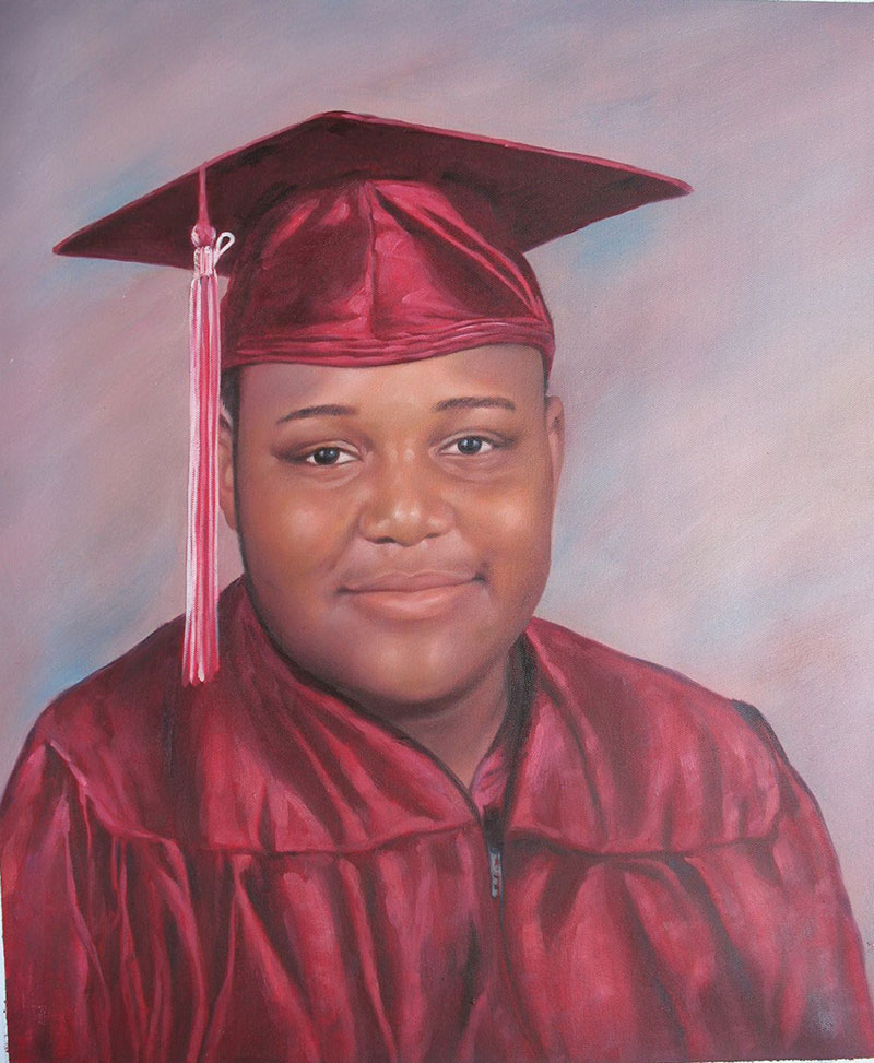 a custom oil painting of a black student graduating