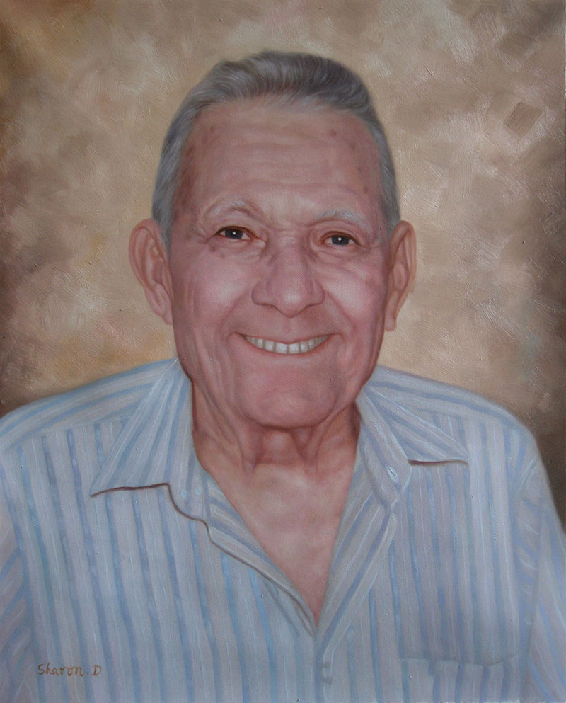 a custom oil portrait of an elderly man smiling