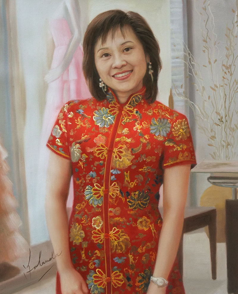 an oil painting of an asian lady in traditional dress