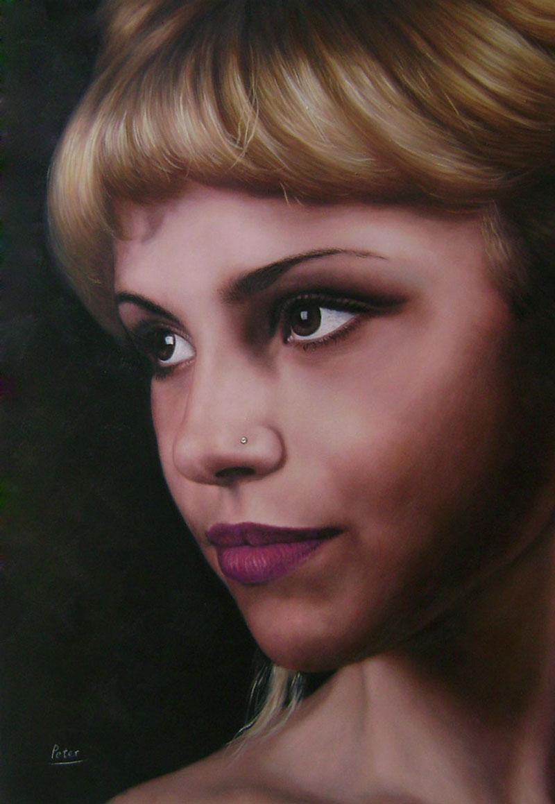dipinto da fotografia viso ragazza
