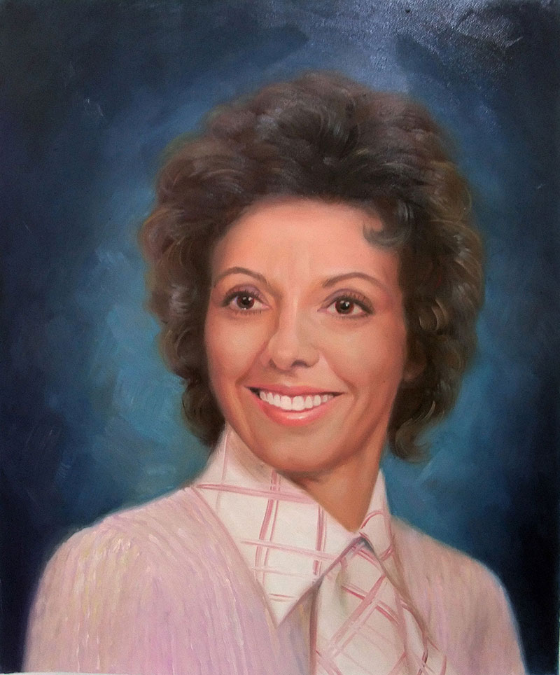 a vintage oil painting of a woman blue background