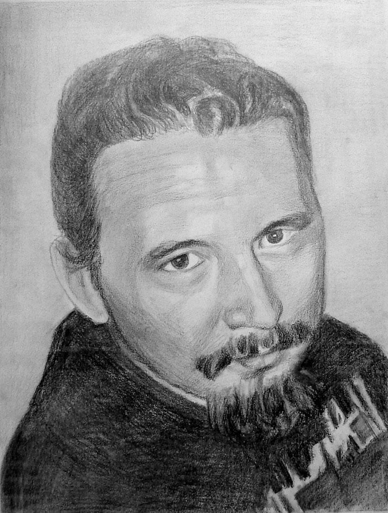 Dibujo al carbón de un hombre