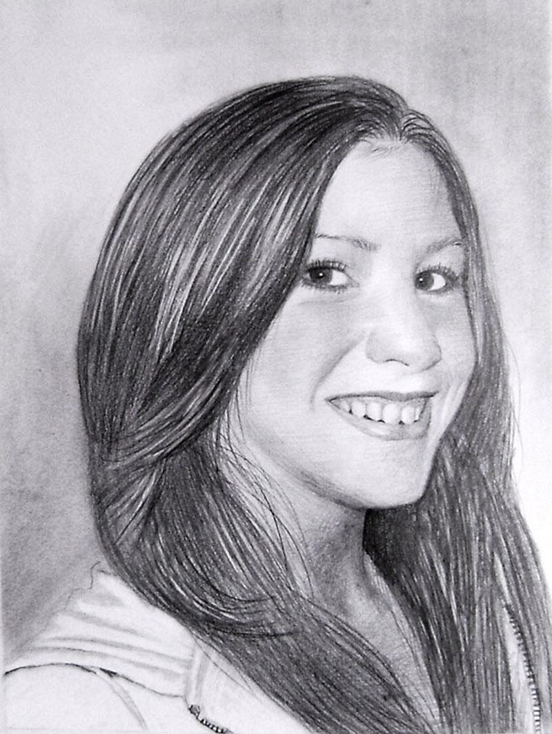 Zeichnung in Bleistift von einer Frau