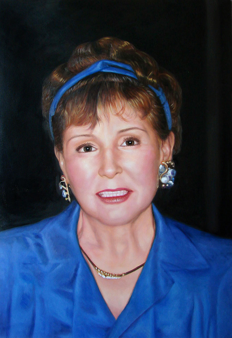 a custom painting of a woman in blue