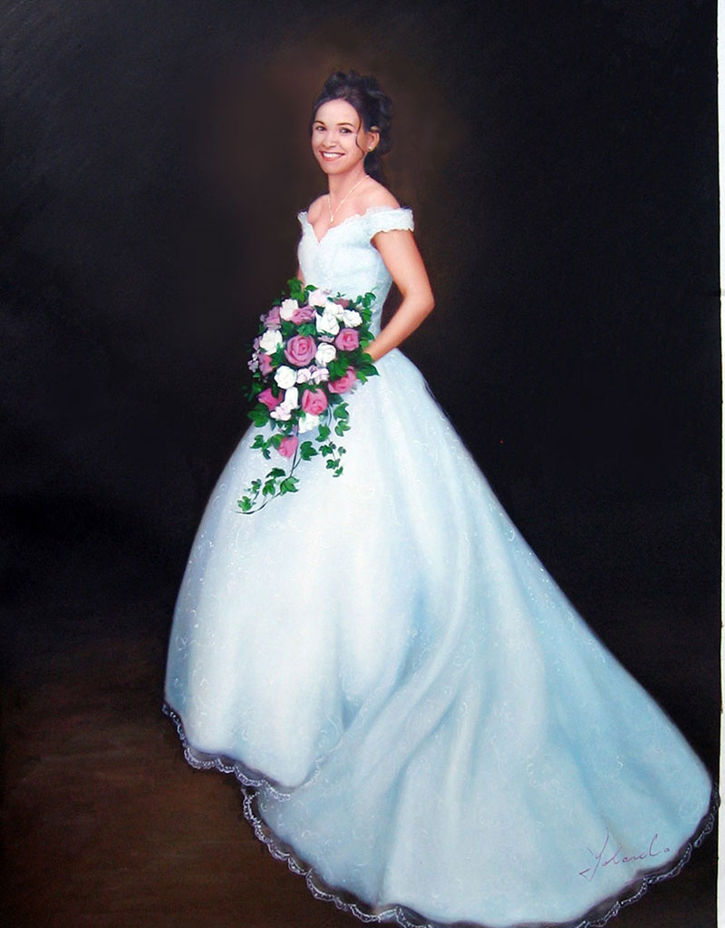 a custom oil paintingof a bride with beautiful white pink