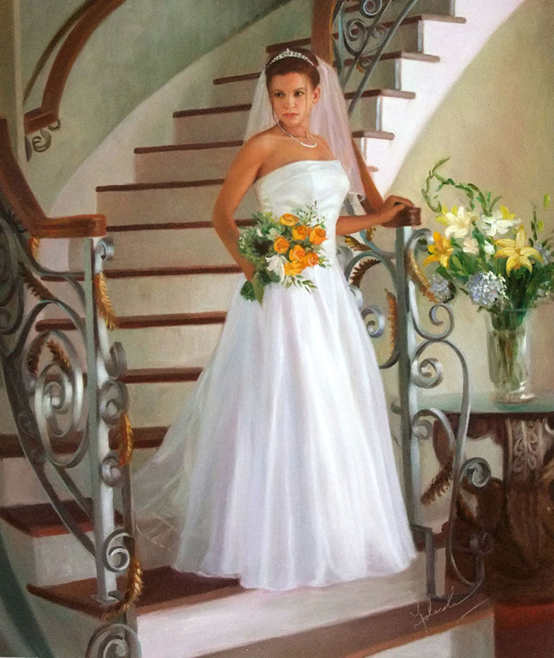 an oil painting of the bride coming down the stairs