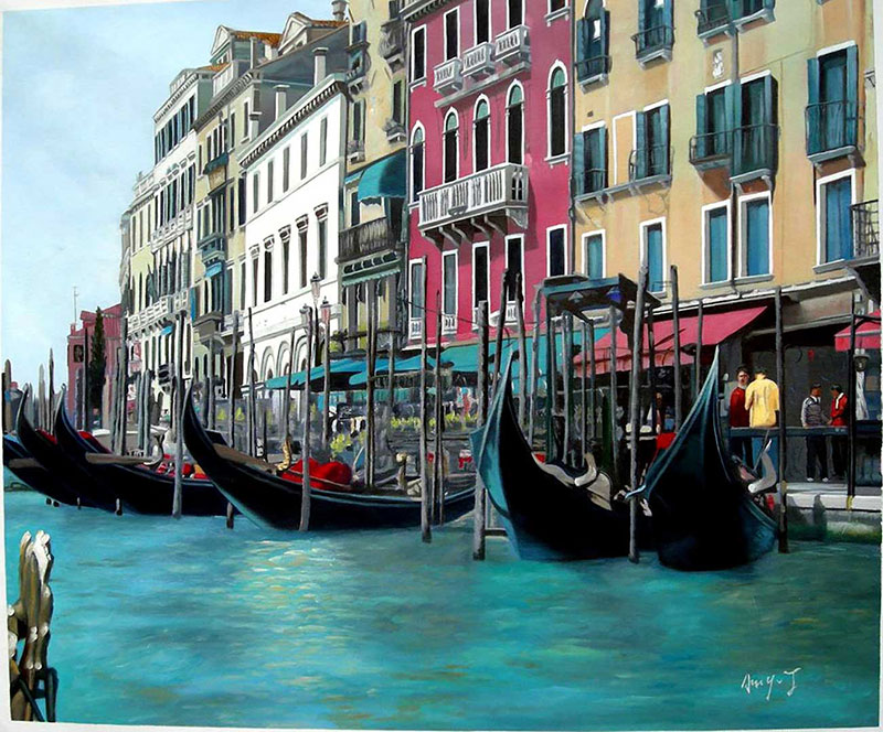 Custom oil painting of venice