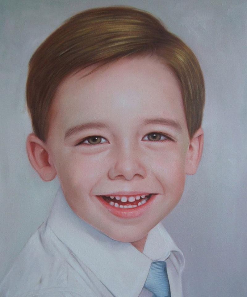 a custom made portrait of an young boy with brown hair eyes