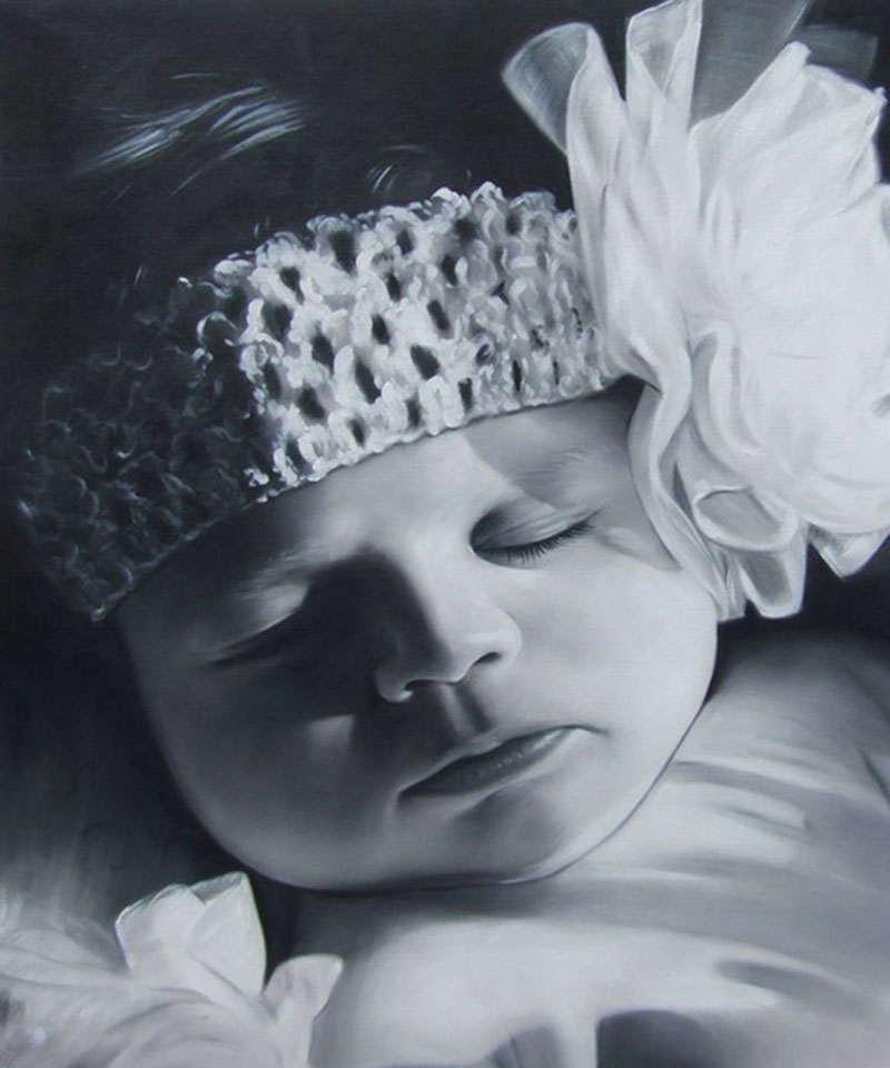 a black and white oil painting of a toddler
