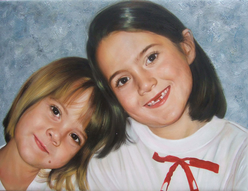 custom oil portrait of two girls