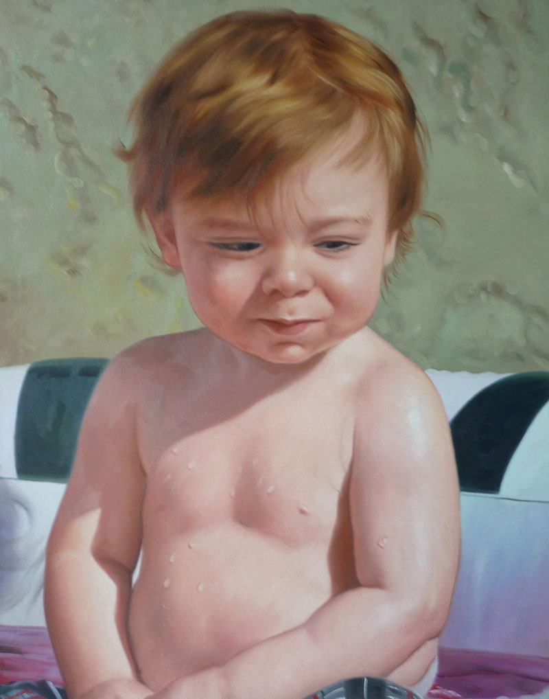 a custom oil painting of an young boy with light brown hair
