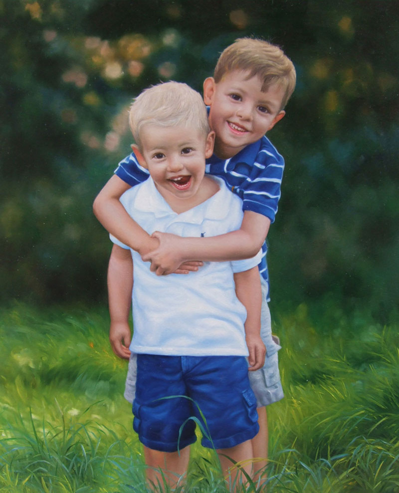 an oil painting of brothers hugging