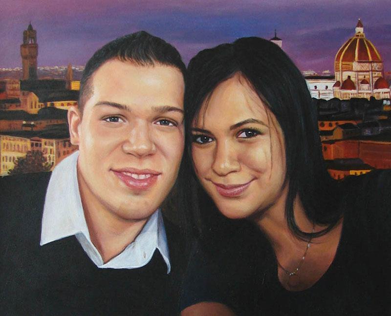 custom acrylic painting of couple on vacation