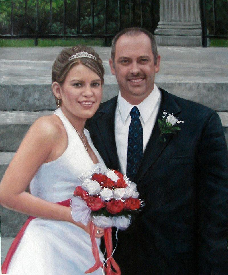 custom acrylic painting of couple on wedding day