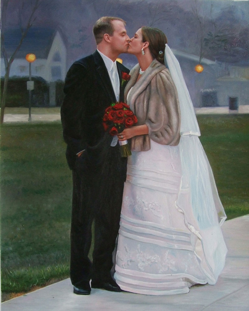 an oil painting of wedding couple kissing outdoors