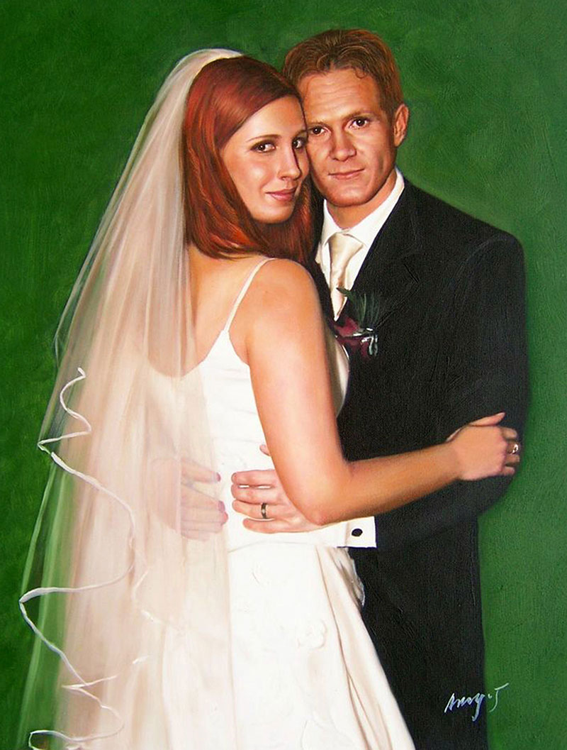 a custom wedding painting of a couple hugging