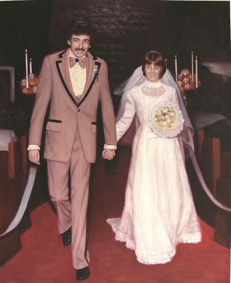 vintage oil painting of wedding couple holding hands