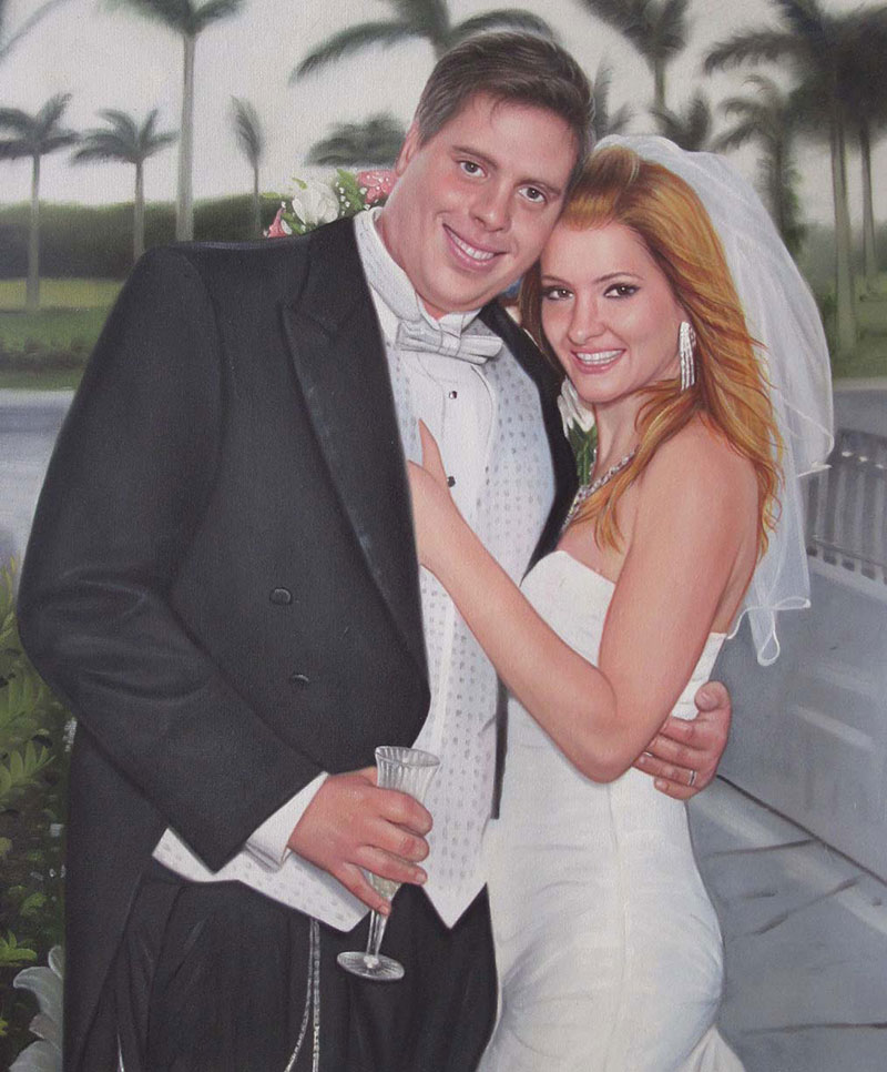an oil painting of a wedding couple hugging outdoors