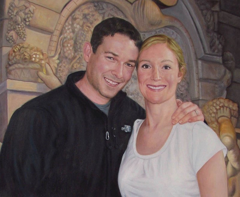 custom acrylic painting of brunette man and blonde woman