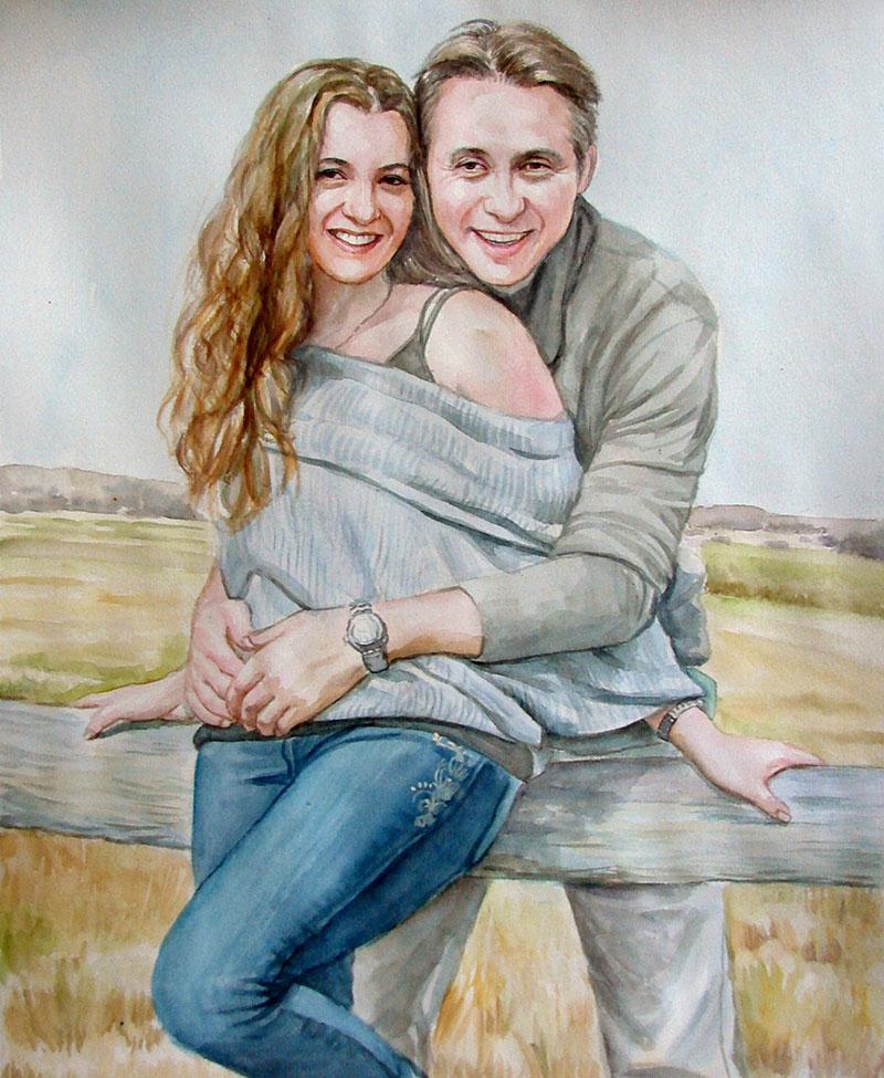 watercolor portrait of a loving couple
