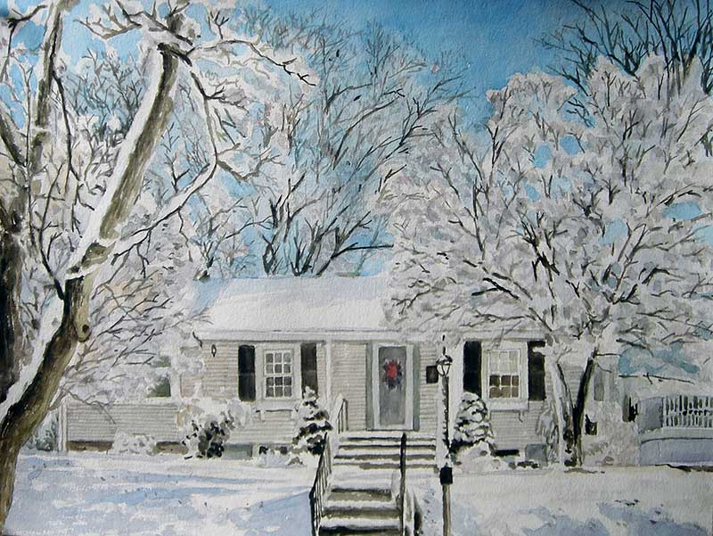 custom watercolor painting of a snowy house
