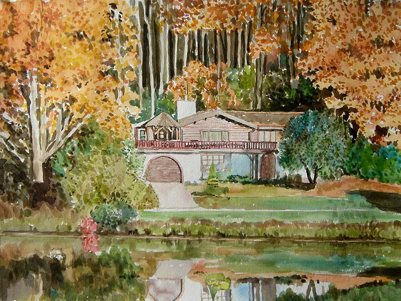 custom watercolor painting of a house in nature in Autumn