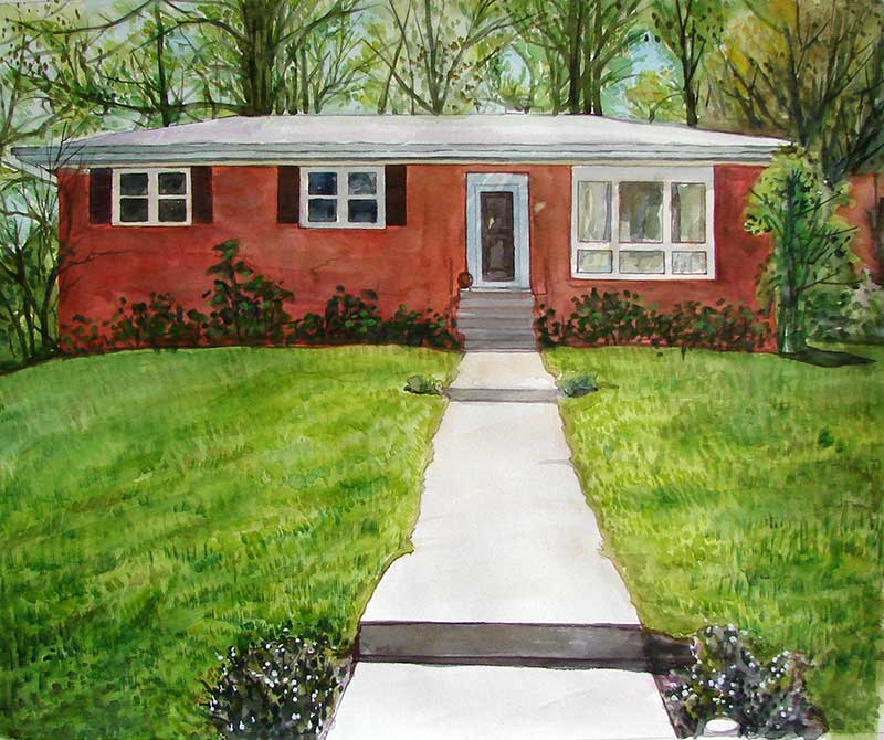 custom watercolor painting of a small red house
