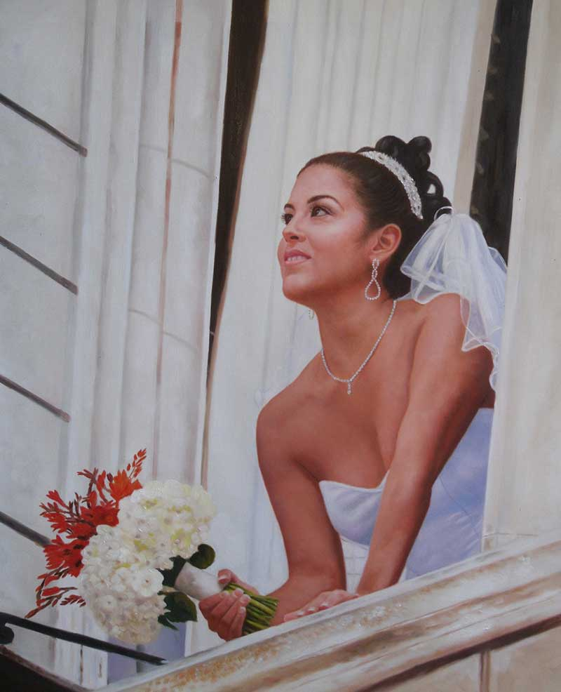 a custom oil painting of a bride looking from the window